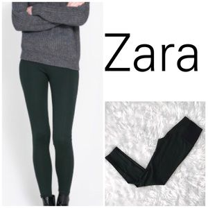 Zara Basic High Waisted Military Green Leggings-M